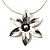 Rhodium Plated Daisy Pendant Wire Necklace - view 1