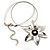 Rhodium Plated Daisy Pendant Wire Necklace - view 6