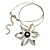 Rhodium Plated Daisy Pendant Wire Necklace - view 2