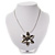 Rhodium Plated Daisy Pendant Wire Necklace - view 3
