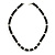 Unisex Black Resin &amp; Silver Tone Metal Bead Necklace - 40cm Length