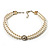 2 Strand Pearl Style Wedding Choker Necklace (Snow White, Silver Tone) - view 2
