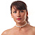 2 Strand Pearl Style Wedding Choker Necklace (Snow White, Silver Tone) - view 3