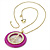 Deep Pink Crystal 'Peace' Sign Pendant Necklace (Gold Tone) - 64cm Length