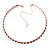 Thin Swarovski Crystal Choker Necklace (Clear & Hot Red) - view 6