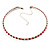 Thin Swarovski Crystal Choker Necklace (Clear & Hot Red) - view 2