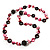 Magenta Shell Composite, Wood Ring & Metal Wire Bead Long Necklace - 84cm Length