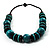 Chunky Beaded Cotton Cord Necklace (Black & Teal) - view 6