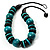 Chunky Beaded Cotton Cord Necklace (Black & Teal) - view 3