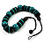 Chunky Beaded Cotton Cord Necklace (Black & Teal) - view 8