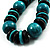 Chunky Beaded Cotton Cord Necklace (Black & Teal) - view 4