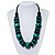 Chunky Beaded Cotton Cord Necklace (Black & Teal)