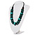 Chunky Beaded Cotton Cord Necklace (Black & Teal) - view 9