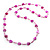 Bright Pink Heart Shell & Bead Long Necklace -100cm Length - view 7