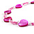 Bright Pink Heart Shell & Bead Long Necklace -100cm Length - view 8
