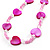 Bright Pink Heart Shell &amp; Bead Long Necklace -100cm Length - view 3