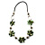 Green Shell Floral Leather Cord Long Necklace -78cm Length - view 4
