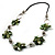 Green Shell Floral Leather Cord Long Necklace -78cm Length - view 5