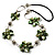 Green Shell Floral Leather Cord Long Necklace -78cm Length - view 1