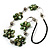 Green Shell Floral Leather Cord Long Necklace -78cm Length - view 6