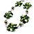 Green Shell Floral Leather Cord Long Necklace -78cm Length - view 3