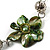 Green Shell Floral Leather Cord Long Necklace -78cm Length - view 7
