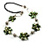 Green Shell Floral Leather Cord Long Necklace -78cm Length - view 8