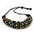 Chunky Olive Green Wood Bead Cotton Cord Necklace - 60cm Length - view 6