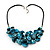 Stunning Teal Blue Shell-Composite Leather Cord Necklace - 44cm Length - view 3