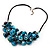 Stunning Teal Blue Shell-Composite Leather Cord Necklace - 44cm Length - view 6