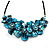 Stunning Teal Blue Shell-Composite Leather Cord Necklace - 44cm Length - view 2