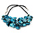 Stunning Teal Blue Shell-Composite Leather Cord Necklace - 44cm Length - view 9