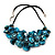 Stunning Teal Blue Shell-Composite Leather Cord Necklace - 44cm Length - view 7