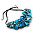 Stunning Teal Blue Shell-Composite Leather Cord Necklace - 44cm Length - view 5