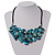 Stunning Teal Blue Shell-Composite Leather Cord Necklace - 44cm Length