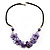 Lavender Floral Shell Leather Style Cord Necklace - 44cm Length - view 2