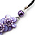 Lavender Floral Shell Leather Style Cord Necklace - 44cm Length - view 4