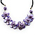 Lavender Floral Shell Leather Style Cord Necklace - 44cm Length - view 3