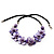 Lavender Floral Shell Leather Style Cord Necklace - 44cm Length - view 5