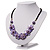 Lavender Floral Shell Leather Style Cord Necklace - 44cm Length - view 8