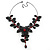 Stunning Y-Shape Mesh Black Floral Necklace With Ruby Red Coloured Swarovski Crystals - 34cm Length (7cm extension) - view 2