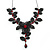 Stunning Y-Shape Mesh Black Floral Necklace With Ruby Red Coloured Swarovski Crystals - 34cm Length (7cm extension)