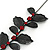 Stunning Y-Shape Mesh Black Floral Necklace With Ruby Red Coloured Swarovski Crystals - 34cm Length (7cm extension) - view 4