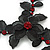 Stunning Y-Shape Mesh Black Floral Necklace With Ruby Red Coloured Swarovski Crystals - 34cm Length (7cm extension) - view 3