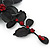 Stunning Y-Shape Mesh Black Floral Necklace With Ruby Red Coloured Swarovski Crystals - 34cm Length (7cm extension) - view 5