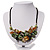 Stunning Green/Antique White/ Black Shell-Composite Leather Cord Necklace - 44cm Length