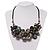 Stunning Slate Black Shell-Composite Leather Cord Necklace - 44cm Length