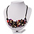 Stunning Purple/Red/Grey Shell-Composite Leather Cord Necklace - 44cm Length