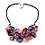Stunning Multicoloured Shell-Composite Leather Cord Necklace - 44cm Length