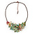 Stunning Pale Green Floral Acrylic Necklace In Bronze Tone Metal - 34cm Length - view 3